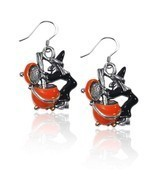 Witch Charm Earrings in Silver #3424S-ER - £15.66 GBP