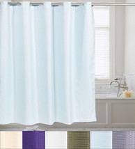 "Fabric Shower Curtain Waffle Weave Hookless With Snap Off Liner 70""x75"" - $35.09"