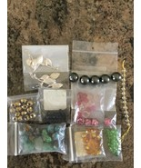 Mixed Lot of Glass Beads Assortment and Silver Plated Flower Necklace Pendants - $16.38