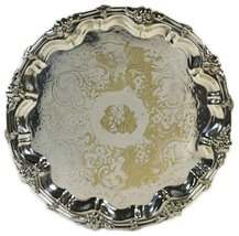 Antique Silver Floral Service TRAY Dinner Cake Victorian Charming 19th C... - £110.06 GBP