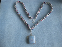 Chainmail necklace with wire wrapped stone pendant Chainmaille Chain mail - $20.00