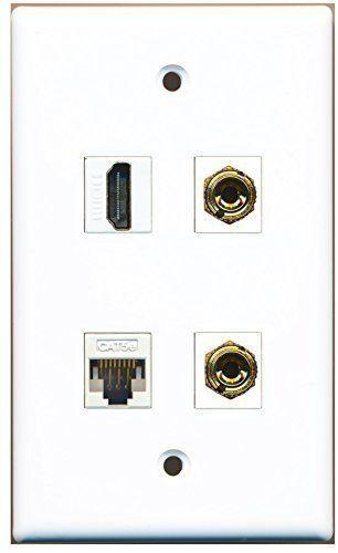 RiteAV  1 Port HDMI 1 Port Cat5e Ethernet White 2 Port Banana Speaker Wall P... - $20.67