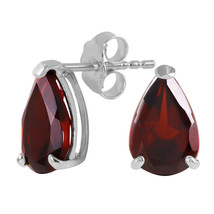 3.15 CTW 14K Solid White Gold Stud Earrings Natural Garnet - $129.59