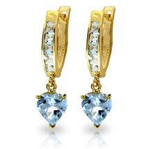 4.1 Carat 14K Solid Gold Hoop Earrings Aquamarine - $349.95