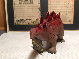 Stegosaurus Geo Central Red and Brown Rubber Toy Dinosaur New with Tag image 1