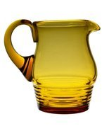 Glass Elegant Wavy Lemonade Serving Art Deco JUG Vintage Amber English 1... - $112.84
