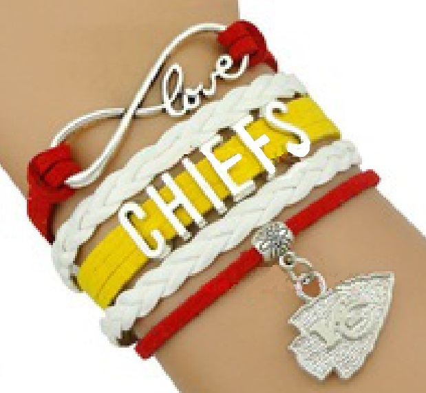 Kansas City KC Chiefs Football Fan Shop Infinity Bracelet Jewelry