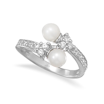 Pearl and CZ Wrap Design Ring - $79.96