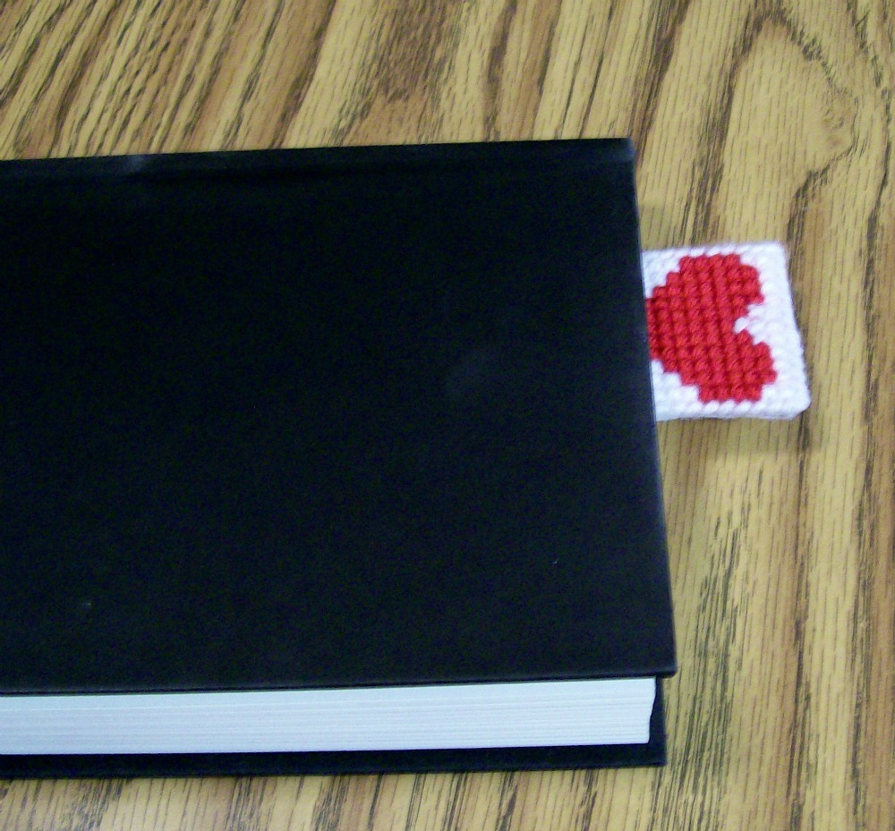 Valentine Bookmark, Plastic Canvas Bookmark, Handmade, Plastic Canvas, Yarn