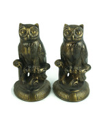 Vintage Owl Book Ends Bronze Tone Pot Metal Tall - $37.37