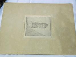 antique  old etching  - cottage - Dolice??? - $157.41