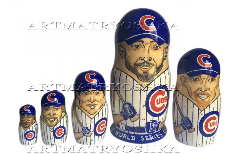 "Chicago Cubs nesting doll matryoshka doll babushka doll 5 pc, 6"""
