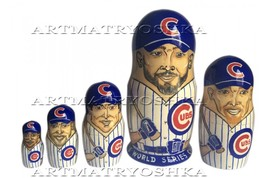 "Chicago Cubs nesting doll matryoshka doll babushka doll 5 pc, 6"" - $59.90"