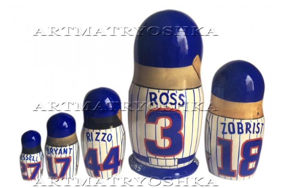 "Chicago Cubs nesting doll matryoshka doll babushka doll 5 pc, 6"" image 2"