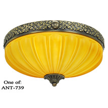 Vintage Brass and Amber Color Wall Lights Melon... - $544.50