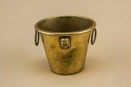 Rustic Art Deco Inca Faces WINE COOLER Rare Brass Vintage Small Serving ... - $146.51