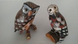 Wooden Screech Whiskered Owl Bird 1:3 Scale Min... - $19.58