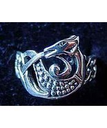 LOOK 0542 Celtic Dragon Ring Infinity knot Silver tail - $19.54