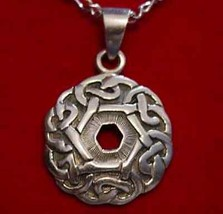 LOOK 0195 Celtic infinity knot Charm Good Luck Weave Wicca Sterling silv... - $20.52