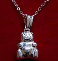 LOOK 0130 Sterling Silver 3D Teddy Bear Heart Pendant Charm - $14.08