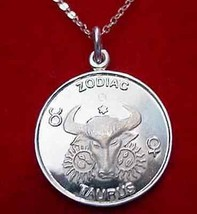 LOOK 0142 Bull Taurus Zodiac Pendant Charm 2 SIDED Jewelry - $20.54