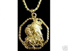 LOOK 0596 New Hindu Radha Krishna Love Charm Om Gold Plated - $18.30