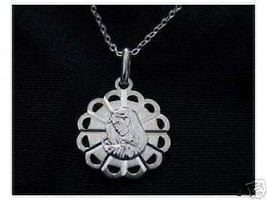 LOOK 0131 Silver Pendant charm Christ Virgin Mary Jewelry - $18.76