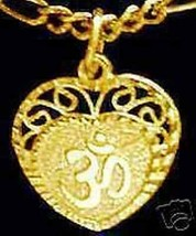 LOOK 0488 Gold Plated HEART Charm Pendant Hindu OM Silver - $16.97
