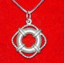 LOOK 0856 Silver Life Saver Guard Swim Pool Pendant Jewelry - $19.18