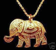 LOOK 0952 Gold Plated Circus Royalty Elephant Charm Pendant - $35.78