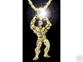 LOOK 2137 New Weight Lifter Gold Plated charm body builder - $13.04