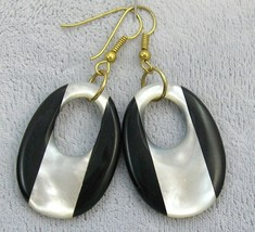 VINTAGE Black Onyx Mother O.P gold /stainless steel wire dangle or clip  EARRING image 4