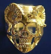 LOOK 24kt Gold Plated Skeleton Skull Horn Ring death Gothic - $40.05