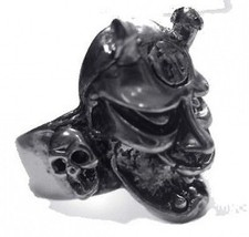 LOOK 2620 Chinese Devil Demon Satan Silver skull ring - $36.74