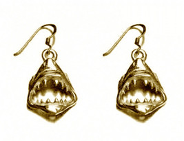 LOOK 24kt Gold plated Sterling Silver Jaws SHARK Tooth Dangle Charm Earr... - $33.85
