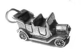 LOOK 3D Antique Convertible Car Charm Real Sterling Silver - $19.18