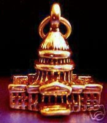 LOOK 2286 Gold Plated US CAPITAL BUILDING 3D Pendant Charm