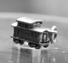 LOOK 50+ year old design 3D Train CAR charm sterling silver - $17.74
