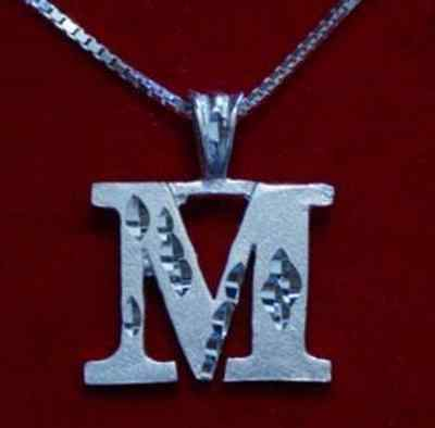 Primary image for LOOK Authentic Amazing Genuine Sterling Silver Pendant Charm Initial Letter M Di