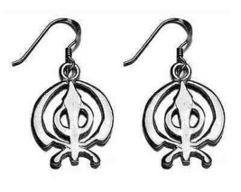 LOOK BEAUTIFUL Sterling Silver 925 Sikh Khanda charm earring - $28.46