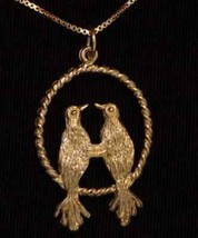 LOOK 0714 I love you birds Silver pendant Gold Plated - $14.94
