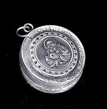 LOOK Buddha Sterling Silver jewelry Pill Box charm Buddhist - $101.46