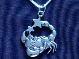 LOOK CARTOON SCORPIO Pendant Silver Zodiac Charm Jewelry - $18.75