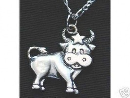 LOOK Cartoon sign Bull Taurus Zodiac 3D Pendant Charm Sterling Silver STAR Jewel - $24.12