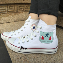 Pokemon Bulbasaur Canvas Sneakers Men Women Design White Anime Converse ... - $119.00