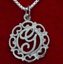 LOOK 1132 Silver Pendant Charm Initial Letter G Jewelry - $18.76