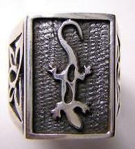 LOOK 1191 Celtic Lizard Gecko Ring Silver Infinity Knot - $31.53