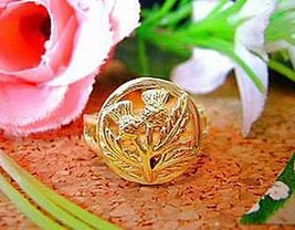 LOOK Celtic Thistle shamrock Ring Jewelry Irish Gold vermeil - $21.45