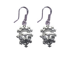 LOOK Celtic Scottish Irish Thistle Sterling silver 925 Crown Jewelry Ear... - $26.05