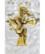 LOOK Celtic Dragon Cross energy guidance Gold plated sterling silver jew... - $25.85